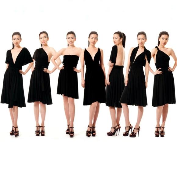 43350c5f606 Black Midi Convertible infinity Dress LBD NWOT. M 5b09edaf05f430f92066f93f